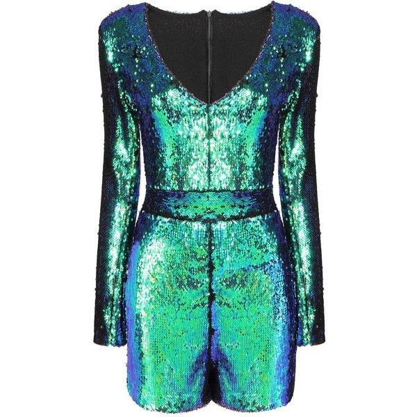 Yoins Yoins Green Playsuit ($31) ❤ liked on Polyvore featuring jumpsuits, rompers, jumpsuit, playsuits, shorts, blue, jumpsuits & rompers, green jumpsuit, romper jumpsuit y sequin jumpsuit