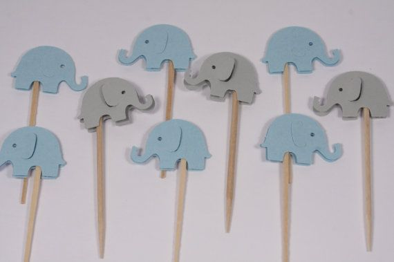 24 Blue & Grey Elephant Cupcake Toppers/Food Picks/Party Picks/Baby Shower/Supplies no T2011 via Etsy
