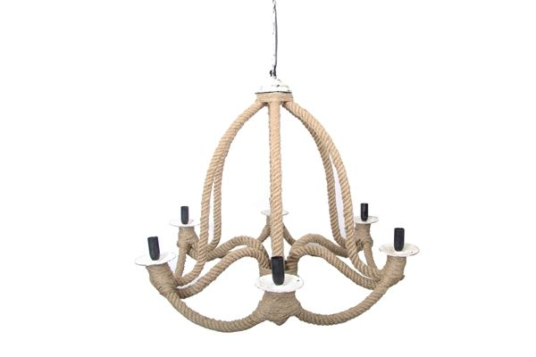 Casa uno Jute/Iron Hanging ChanDelier Home Ceiling Lighting Fixture - NEW