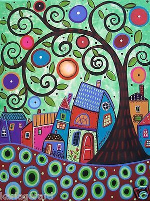 Brand new painting, ready to purchase and to hang...Small Village...