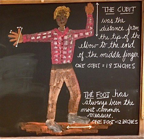 Waldorf ~ 3rd grade ~ Math ~ Measure: Length ~ History of Linear Measurement ~ chalkboard drawing
