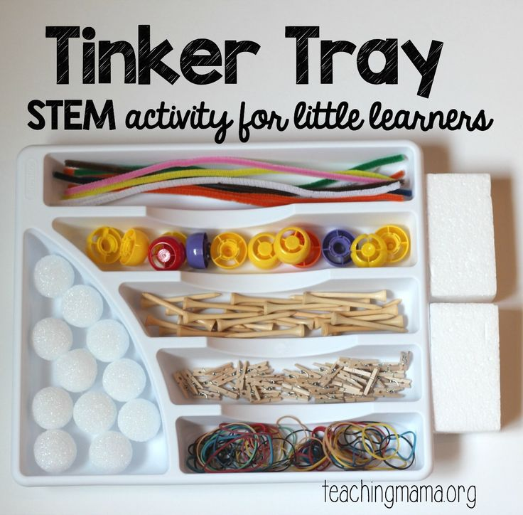 Tinker tray for little learners. A STEM activity for building.