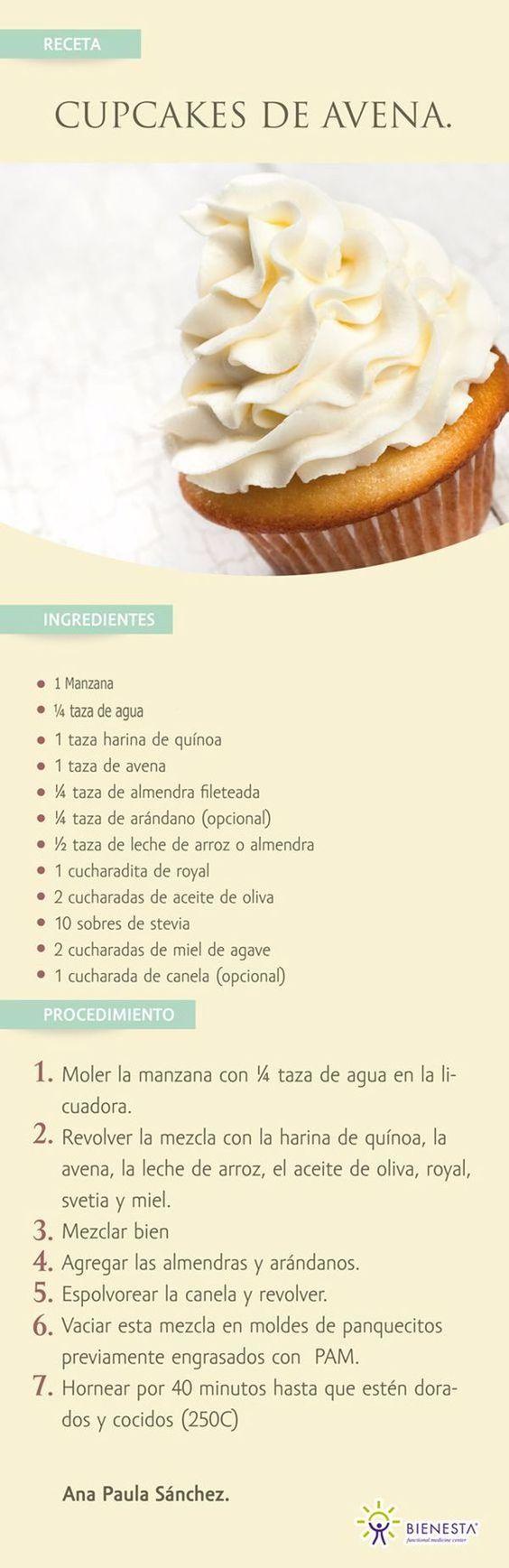 Receta para preparar magdalenas de avena, con ingredientes mucho más saludables que las tradicionales. #infografias #avena #recetas #magdalenas