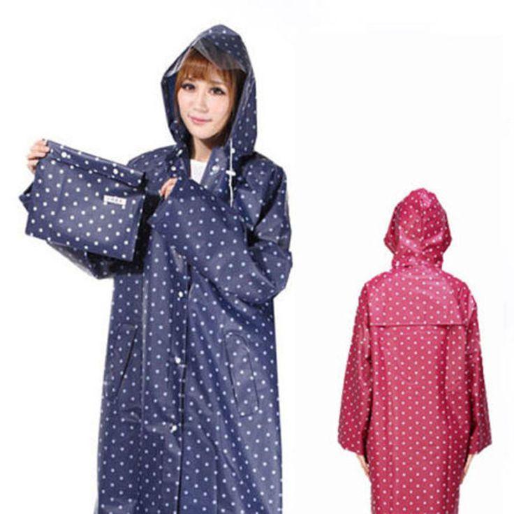 Dot Pocket Waterproof Rain Coat Outdoor Camping Hiking Poncho Raincoat For Women