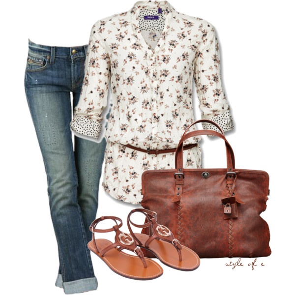 """""""Rust Bag"""" by styleofe on Polyvore  Not a big fan of the belt,but i love the shirt!"""