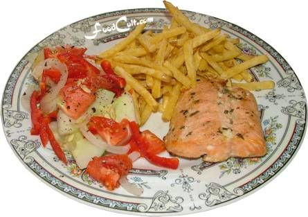 A #salmon on the #grill ... a lightly dressed salad and #deepfried potatoes. A complete, balanced, rich in #omega3 , meal on a single plate - Free, Easy Recipes @ http://www.FoodCult.com - A Place for Galganov's Recipes and More - Food Matters!