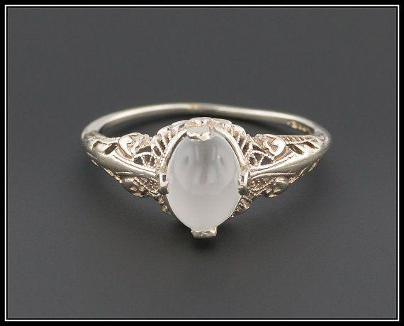 Vintage Moonstone Filigree Ring  14k Gold by TrademarkAntiques