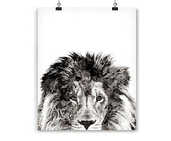 Tinta negra León impresión negro blanco arte decoración en