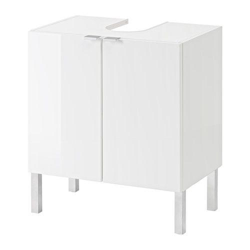 GETRYGGEN Waschbeckenunterschrank, 2 Türen, Hochglanz weiß