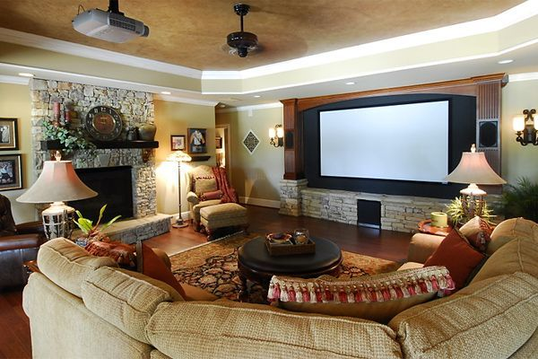 Finished basement ideas like the warm feeling finished - Living room movie theater boca raton ...