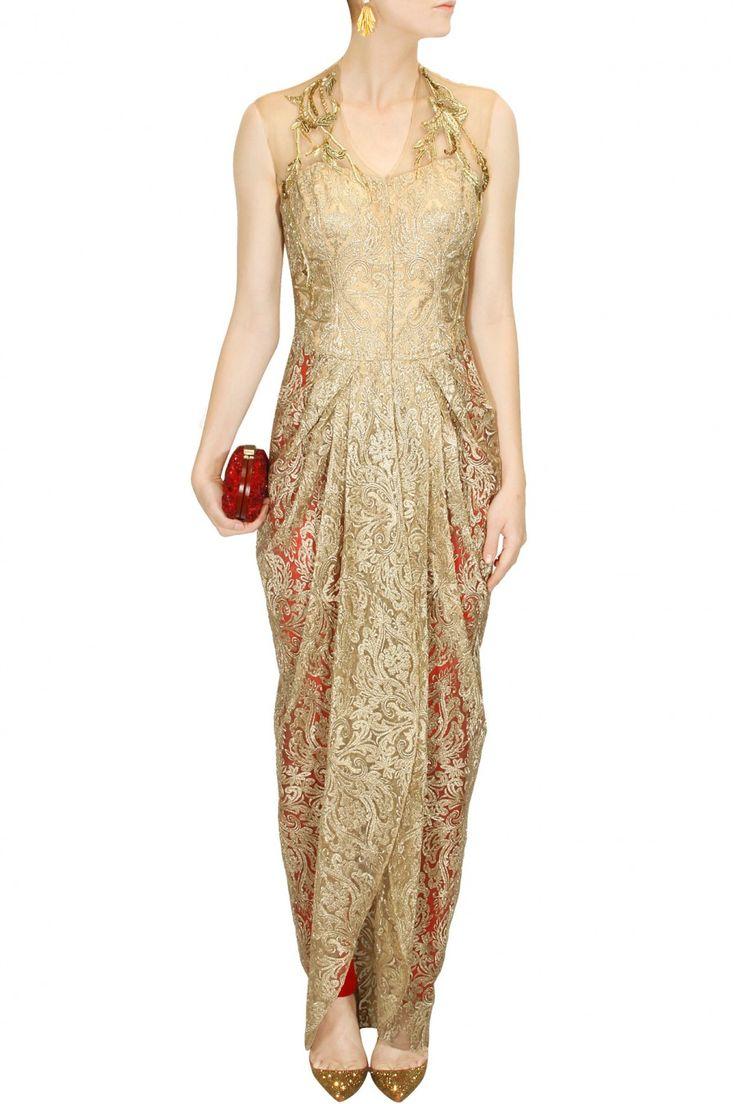 Gold floral embroidered drape jacket with churidaar - Gaurav Gupta