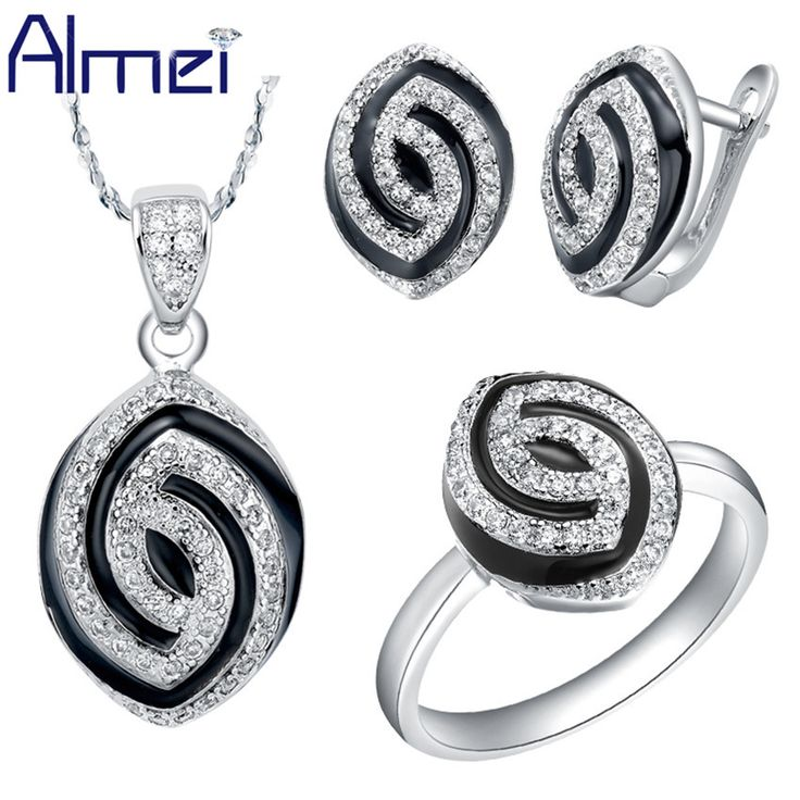 Find More Jewelry Sets Information about Almei Silver Bridal Jewelry Sets Zircon Fashion Brand Black Enamel Oval Crystal Bijoux for Girl Necklace Earrings Women T173,High Quality gift paper,China gift bags jewelry Suppliers, Cheap jewelry garden from ULove Fashion Jewelry Store on Aliexpress.com