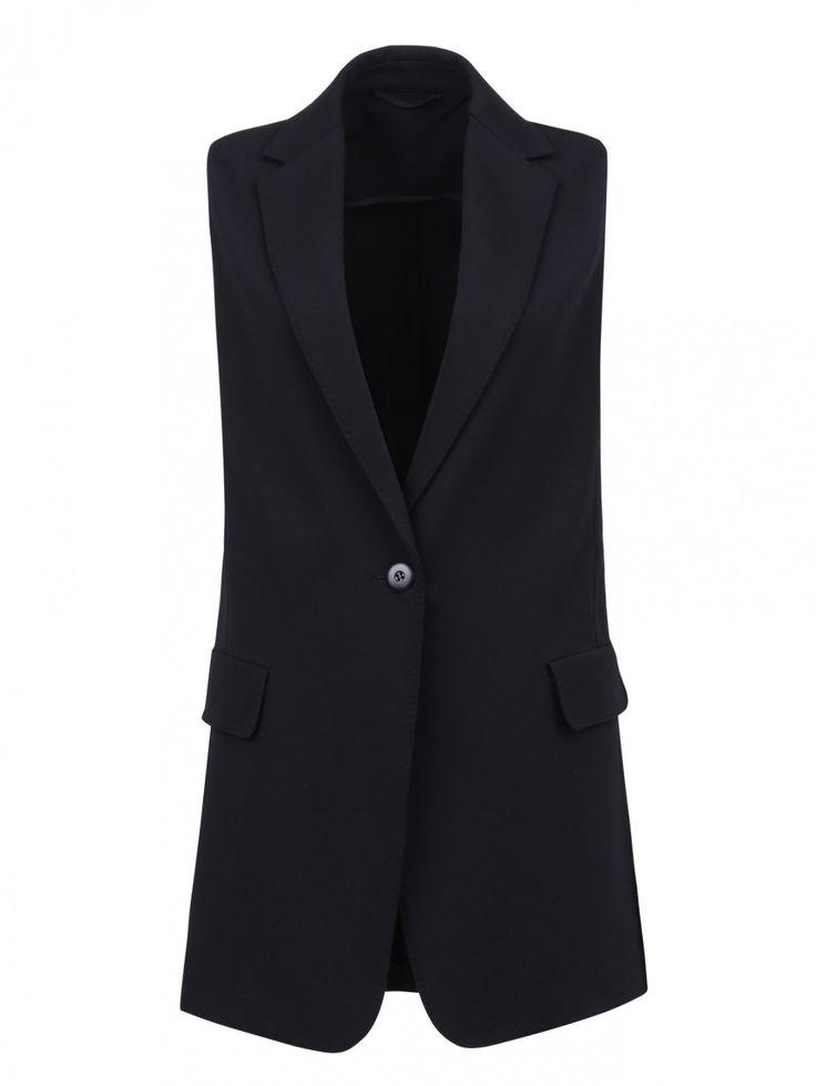 Удлиненный жилет с боковыми карманами - Обтравка
