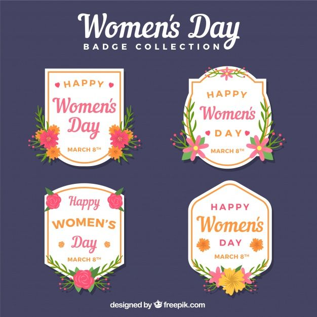Flat women's day label/badge collection Free Vector