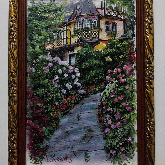 Миниатюра 15×23. Дорожка к дому. Продаётся. #miniatureitaliancourtyard #miniature #art #oilpainting #картинамаслом #картинаназаказ