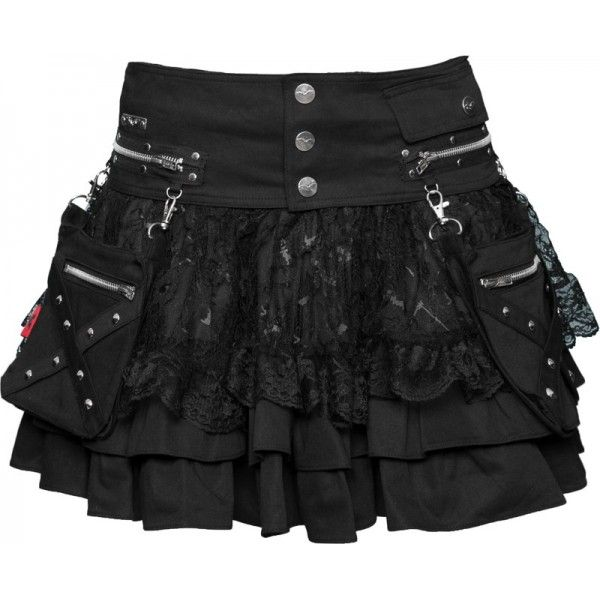 Gothic skirt with removable pocket-belt, layered with lace, from the Queen of Darkness womens clothing collection.