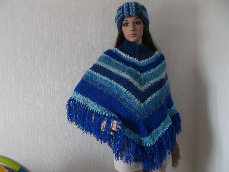 Ponch in shades of blue, knitted and crocheted in up-cycled yarn, retro style from Dorset by Stitchesincolour on Etsy