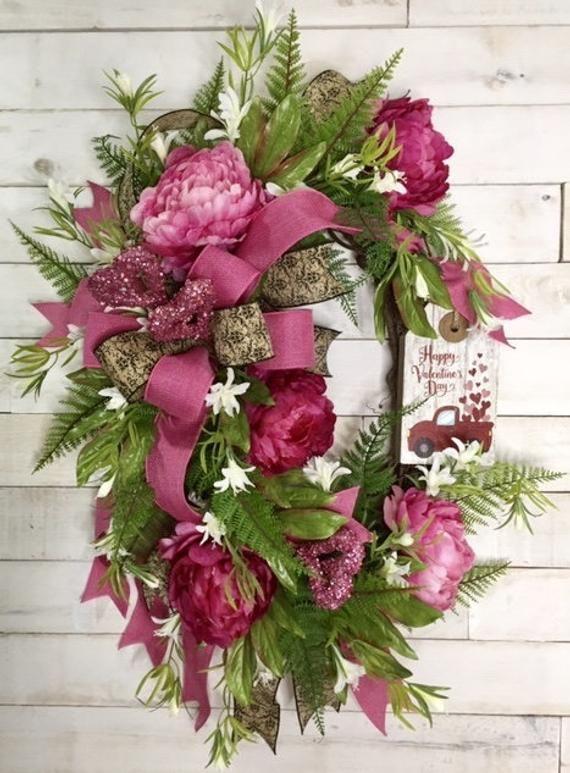 Valentine S Day Wreath Pink Peonies Wreath Red Truck Etsy Valentine Door Decorations Valentine Day Wreaths Valentine Wreath