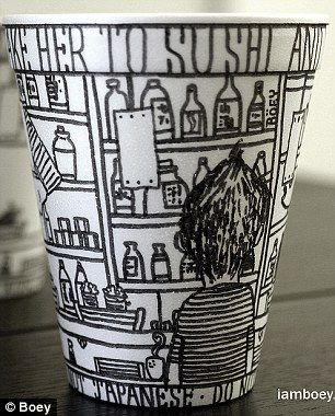 Cheeming Boey, 35, who is currently based in Newport Beach, California, can't stop drawing on drink containers.