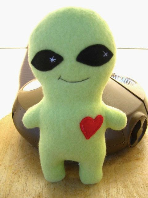 Green Alien Plush Monster stuffed animal Fleece toy for child and adult, boyfriend and girlfriend on Etsy, $16.00