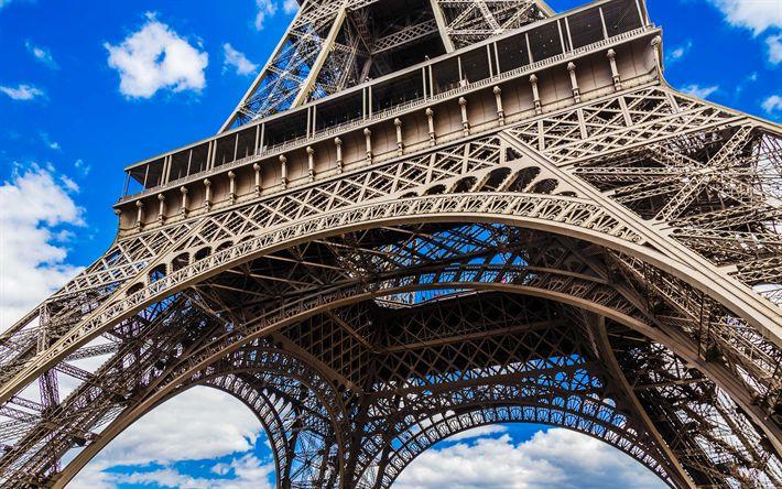 Download wallpapers Eiffel Tower, 4k, french landmarks, blue sky, Paris, France, Europe