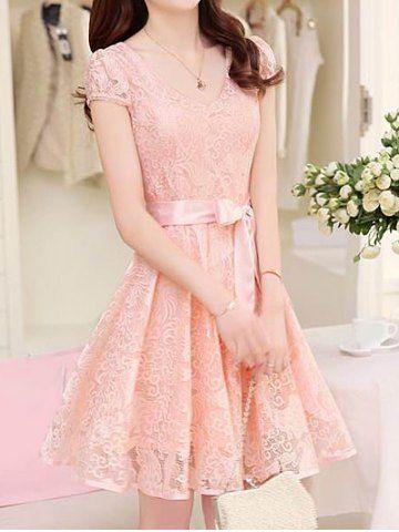 Ladylike V-Neck Short Sleeve Lace Solid Color Women's Dress Lace Dresses | RoseGal.com Mobile