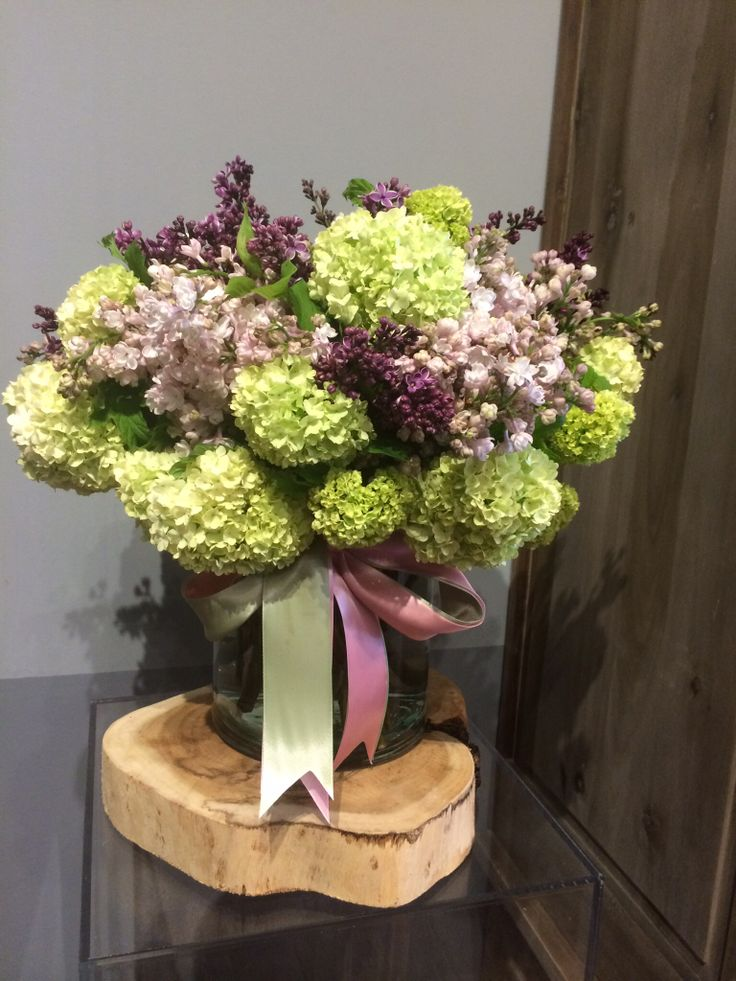 Lilac and green viburnum bouquet with lavender double