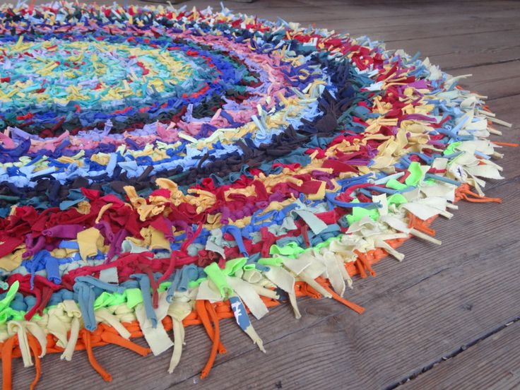 https://www.etsy.com/listing/163786316/joyful-and-colorful-rug-mexican-vacation?ref=shop_home_active Handmade from carefully selected color palette cotton ribbons, crocheted and finished with old style nodal technique. Each circle is in different color. Rug will complement Your apartment or private house interior and bring joy and richness in Your home. It can be used as a rug for Your children where to play.