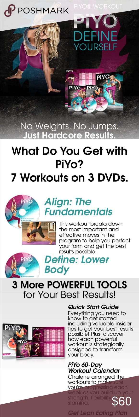 PYO exercise DVD set! No scratches Brand new DVD set comes with a schedule plan 7 different work outs measuring tape. Great way to start the new year. lululemon athletica Other