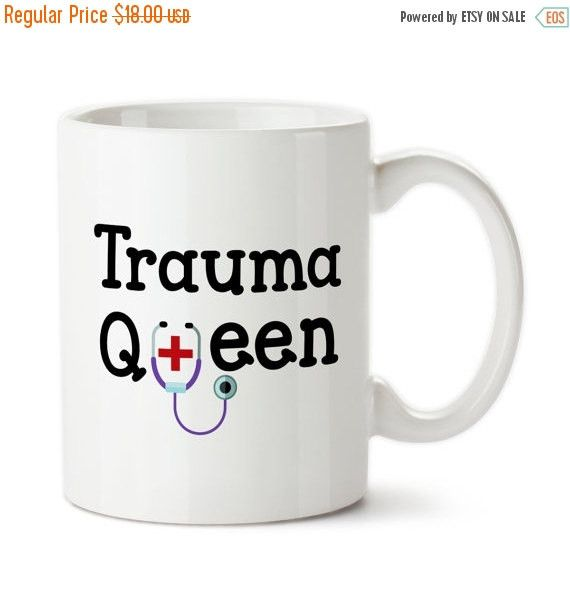 Trauma Queen, Gifts For ER Nurse, Doctor, Surgeon, Emergency Room Trauma Team, Custom Mug, Coffee Cup, Tea Mug, Stethoscope