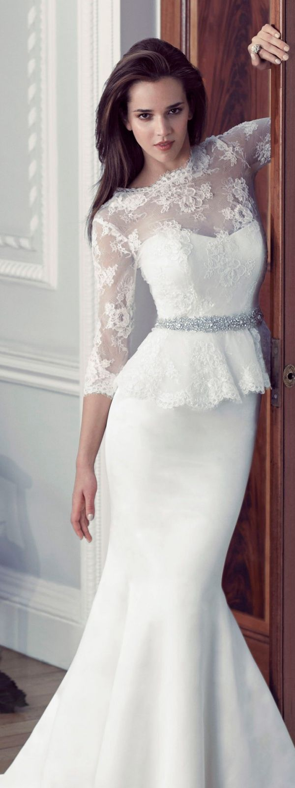 3/4 Sleeve Trumpet Satin Wedding Dress with Crystal Ribbon