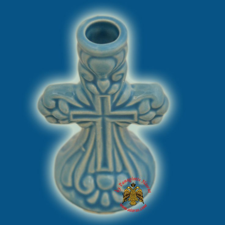 Candle Holder Orhtodox Cross Colored Ceramic Tirquaz 8cm
