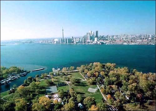 View of downtown Toronto from Ward's Island, a beautiful view from either shoreline.