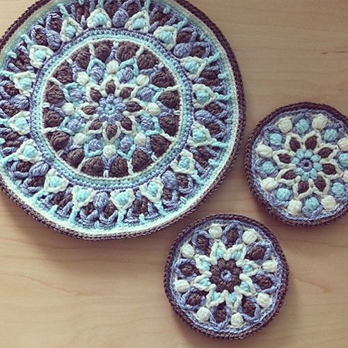 This easy to follow pattern (14 pages) is written for two sizes (pot holder and mandala). It contains step by step full written instructions in English using standard crochet abbreviations and US terms (stitch guide is given in the pattern). It also contains lots of pictures explaining all the tricky and difficult places.