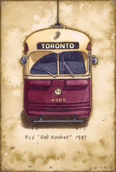 Toronto, Ontario 'Red Rocket' streetcar (1947). Illustration by Norman Stiff