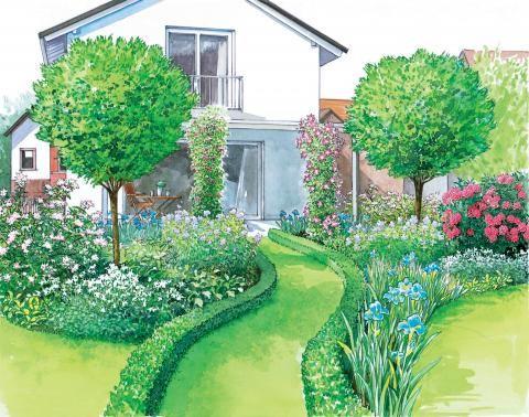 Rasenweg zur Terrasse