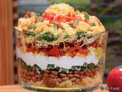 Mexican Corn Bread Salad - A great layered salad for potlucks