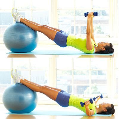 The Ball Bridge Fly is a multitasking move that works your hips, hamstrings, butt, chest, arms, and shoulders all at the same time.