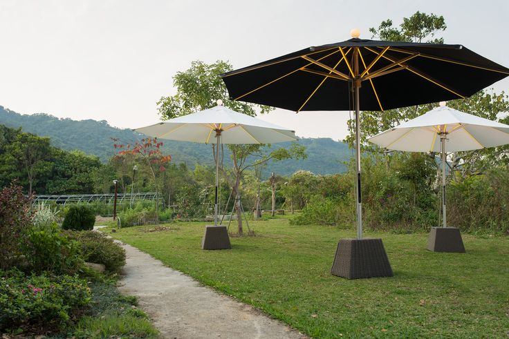 NI LED Parasol is ideal for both outdoor and indoor use.   http://foxcatdesign.com/