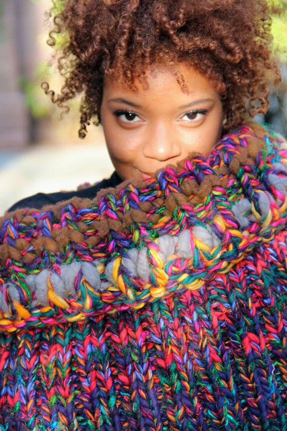 Grosso camino, maglia sciarpa, sciarpa maglia grosso, sciarpa Infinity maglia, maglia sciarpa di grosso, maglia cappuccio, maglia cappuccio grosso - uccello del paradiso