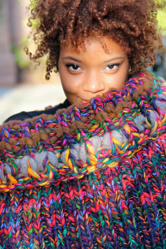 This chunky merino-and-silk cowl is so bright it practically glows. #etsy