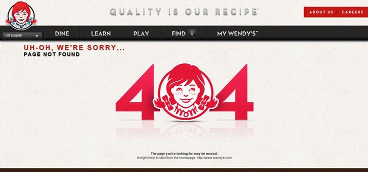 Wendy's 404 error page
