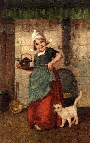 """Dutch Girl Serving Tea"" by Edmond Louyot (1861 – 1920, French)"