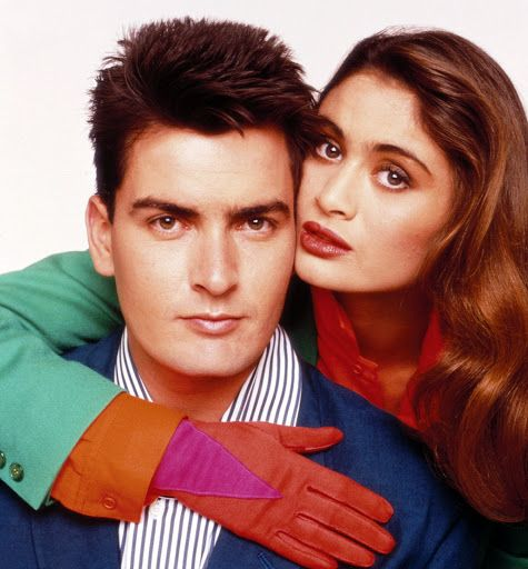 Charlie Sheen and then girlfriend Charlotte Lewis, 1988