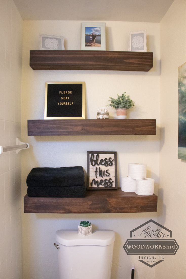 Floating Shelves for Over the Toilet in the Bathroom   – Bathroom