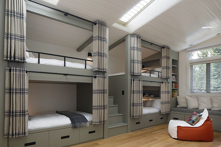 Bunk room in a home in Lake Tahoe, CA designed by Laura Martin Bovard