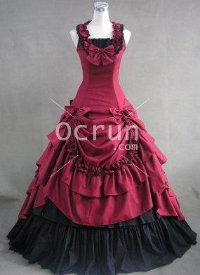 2012 Tief Rot und Schwarz Baumwolle viktorianischen Kleid