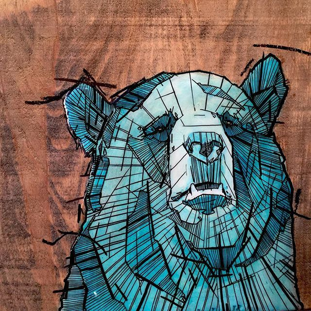 #blue #grizzly #bear #reclaimedwood #acrylic #painting #ink #art #sold