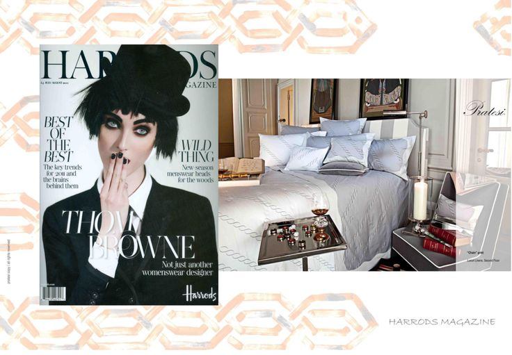 HARRODS - July August 2011 The best luxury shopping center in London: Harrods, hosts a Pratesi corner shop since 2011. #Harrods #Magazine #Collection #Interior #Design #Architecture #Bed #Pillows #Linens #Home #Decor #Luxury