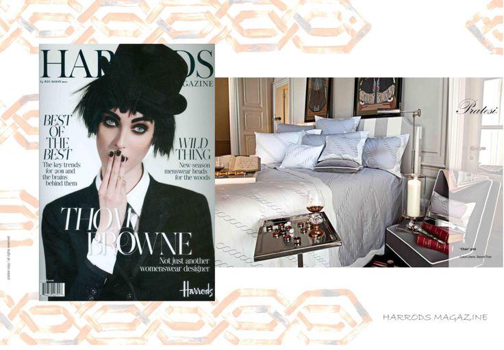 HARRODS - July August 2011 The best luxury shopping center in London: Harrods, hosts a Pratesi corner shop since 2011. #Harrods #Magazine #Collection #Interior #Design #Architecture #Bed #Pillows #Linens #Home #Decor #Luxury